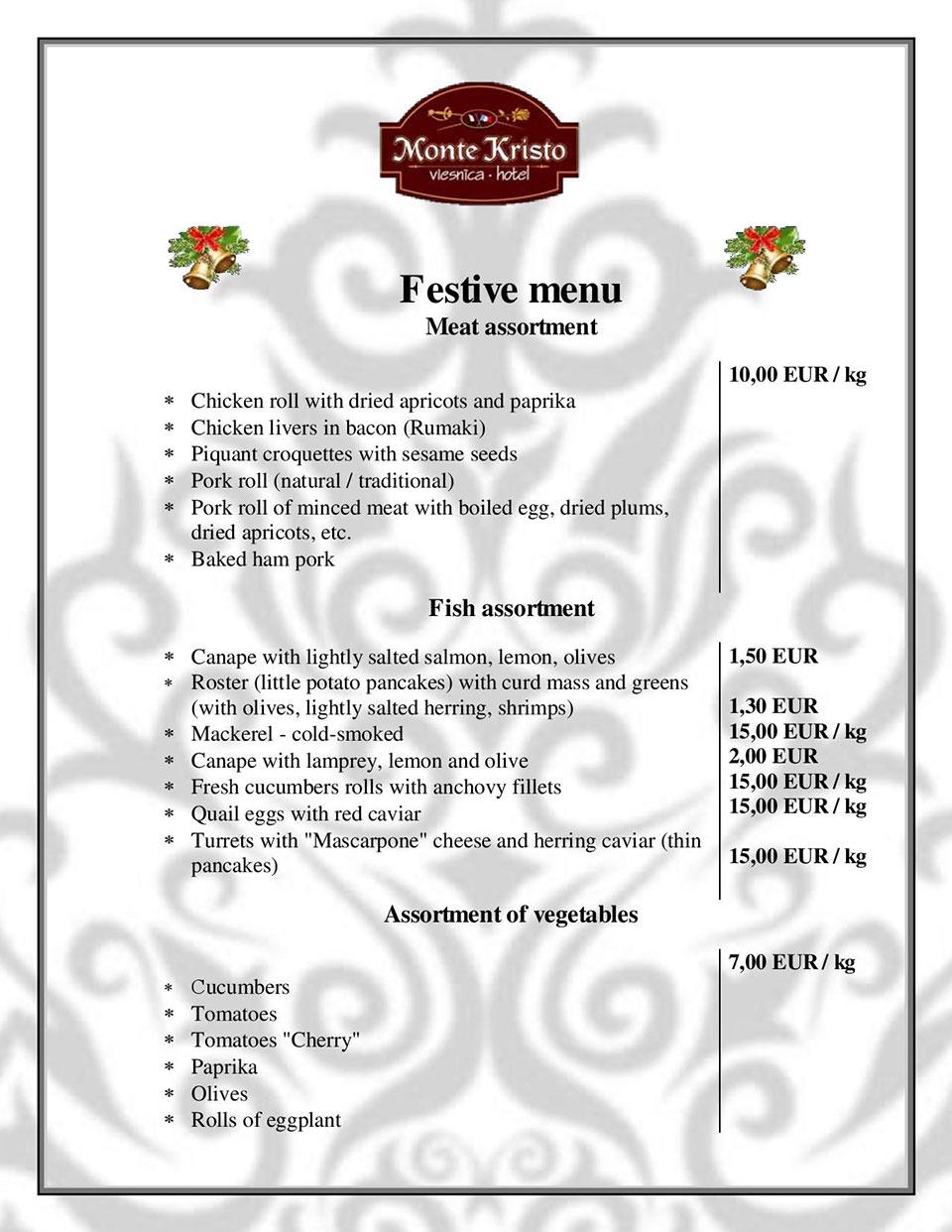Monte Kristo Restaurant Menu